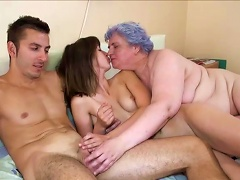 Fat Mature Luise And Young Chicks Are Sucking