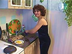 Teen Stud Fucks And Facializes Horny Mature Brunette In The Kitchen