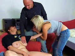 Granny And Sexy Young Blonde Are Fucking With Skinhead