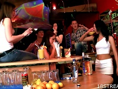 Teens Eat  In The Bar For Viewers