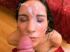 Big Cock Facial For Small Tits Brunette