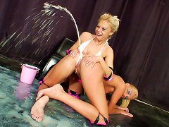 Blonde Lesbians Enjoy A Nasty Anal Toying In A Close Up Fetishing Scene