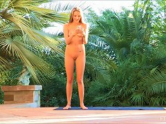 Naughty Teen Practices Her Yoga Outdoors In The Nude Then Kisses A Gal