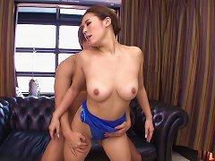 Shiny Blue Leotard On An Asian Teen Babe Taking Big Cock