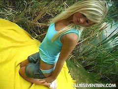 Very Horny Teen Masturbating With A Dildo Outdoors