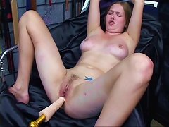 Beautiful Young Girl Gets Fucked By A Machine In A Dungeon And Plays With Vibe