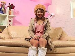 Japanese Beauty Masturbates With Toys On The Sofa