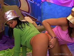 Brunette Lesbians With Nice Ass In Thong Have Fun Toying Their Pussies