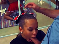 Cute Cheerleader With Braces Gags On Cock