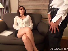 Japanese MILF Fingers Her Cunt While Sucking On Her Man's Wang