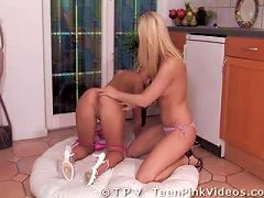 Blonde Lesbian Teens With Pink Pussies Finish Off With Sex Toys
