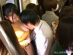 Naughty Japanese Slut Sucking Cock And Getting Fucked In Crowded Train