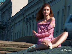 Russian Solo Girl Sits Down On The Chair And Exposes Her Beaver