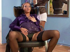 Stocking-clad Lesbian With A Great Body Enjoying A Messy Vibrator Fuck