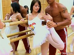 Hung Trainer Fucks Four Horny Ballerinas In A Hot Groupsex