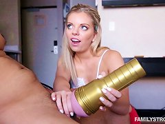 A Bubbly Blonde Jerks Her Man Off Then Bounces On His Dick