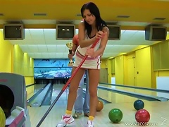 Hot Brunette Gets Porked And A  In Bowling Alley