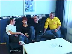 Redheaded Milf Enjoys Her Time With Three Hung Younger Guys