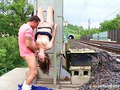 Exhibitionist In Fishnets Gets Fucked By The Railroad