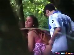 Voyeur Busts Teens Fucking In The Forest