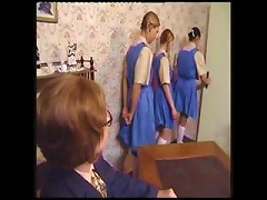 Naughty Schoolgirls Line Up For Their   Punishment