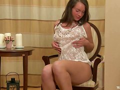 Masturbating Brunette Teen Beauty With A Toy In Her Hole