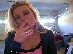 Blonde Young White Sweetie Filmed Smoking A Cigarette