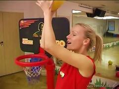 Hot Blonde Teen Masturbates After Playing Basketball