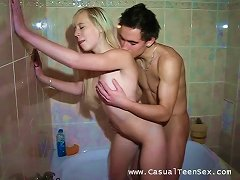 Blonde Teen Is Fucked Silly In Her Own Bathroom