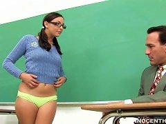 Teen Brunette Wants Sex In The Classroom