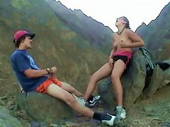 Topless Blonde And Her Boyfriend Masturbating Outdoors