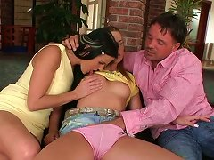 Horny Brunette MILF Allows Her Husband To Fuck Hard Beautiful Teen With Pigtails