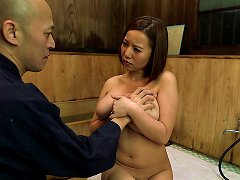 Asian Slut Gives Her Husband Tit Job And Blowjob In The Kitchen