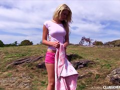 Foxy Blonde Slides Off Her Thong Then Fingers Her Cunt Outdoors