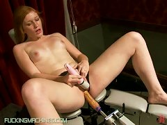Ginger Babe Has Her Red Pussy Pounded By A Machine