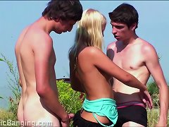 Blonde Teen Girl Public Street Gangbang Threesome Orgy