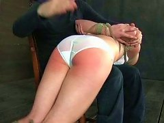 Tied Up Blond Teen With Gag In Her Mouth Is Spanked Hard By Kinky Master