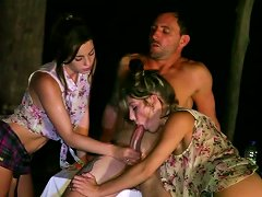 Kendra Jane And Roxy Lane Give Double Blowjob To A Horny Man