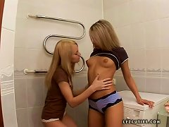 Anal Toying Session With Two Petite Lesbian Babes