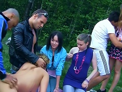 Wild Outdoor Orgy With Horny  Student Chicks