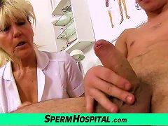 Nasty Grandma Doctor Hana Milking Young Boy