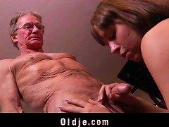 Hot Teen Fucks Old Man Huge Cumshot In Mouth Swallow