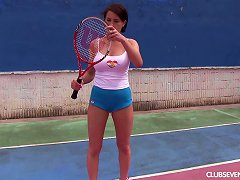 Big Naked Tits Are Sexy As She Masturbates On The Tennis Court