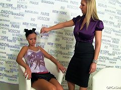 Big Tit Blonde In Pantyhose Lesbian Playing With A Skinny Teen Slut