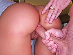 Hot Glamour Brunette Rachel Starr Is Squatting On The Floor At Front Of Her Boyfriend And Hotly Sucking His Huge Dick