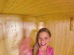 Horny Teen Teases Her Tight Pussy In A Sauna