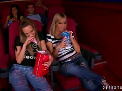 Blue Angel And Sandy Fist Their Pussies In A Movie Theater