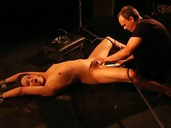 Frisky Teen Restrained And Toyed In Her Hairy Pussy