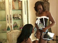 Ebony French Maids Forget About Work And Have A Lesbian Orgy