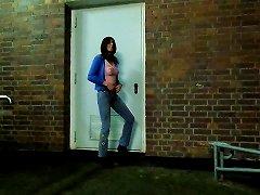Sandralein33 Smoking Outdoor In Jeans